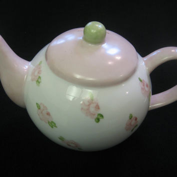 """Tea Pot Bank Holiday Gift Girl, Pink Roses, Christmas Gift, 6"""" high, Porcelain Ceramic Pottery, Hand Painted by B. Marsh"""