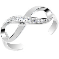925 Sterling Silver CZ Infinity Toe Ring | Body Candy Body Jewelry