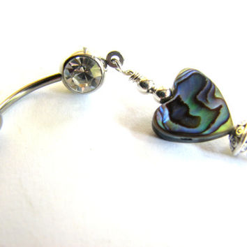 Paua Bellybutton Ring / Abalone Shell Heart Belly Button Jewelry Beach Belly Rings Seashell Navel Ring
