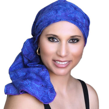 Purple Blue Turban, Head Wrap, Alopecia Scarf, Chemo Hat, Hat & Scarf Set