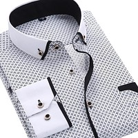 2016 Men Fashion Casual Long Sleeved Printed shirt Slim Fit Male Social Business Dress Shirt Brand Men Clothing Soft Comfortable