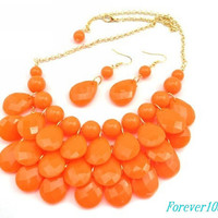 cute orange resin necklace&earring  handmade bib Necklace/glitter Statement Bubble choker,bridesmaid gifts,unique Beaded  Jewelry torque