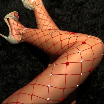 New Sexy Popular Women Fishnet Tights Net Heart Type Crystal Diamond Bling Hosiery Body Stocking Pantyhose(3-Color) Red I13036-1