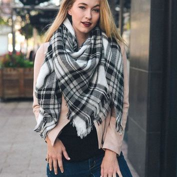 Plaid Blanket Scarf - black and white