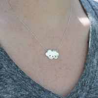 Sterling Silver Sad Cloud Necklace by justkarmajewelry on Etsy