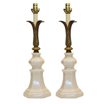 Pre-owned Art Deco Crackle-Glazed Ceramic Lamps - A Pair