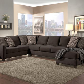 Benchley Peotic Sect Charcoal 3 pc peotic collection charcoal color fabric upholstered sectional sofa with flared arms and chaise