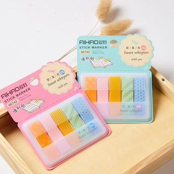 6 pcs/Lot Candy color stick marker Sweet removable memo note Post it Stationery Office accessories School supplies 6390