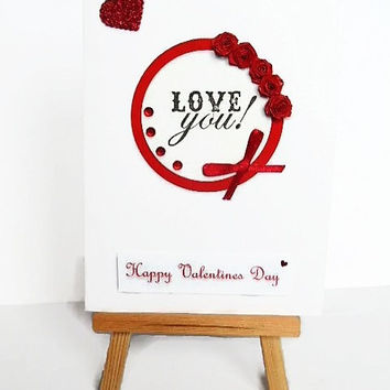 Love you card, Valentines card, Valentines day card, love card, card for wife, card for husband, quilled card, heart card, greeting card