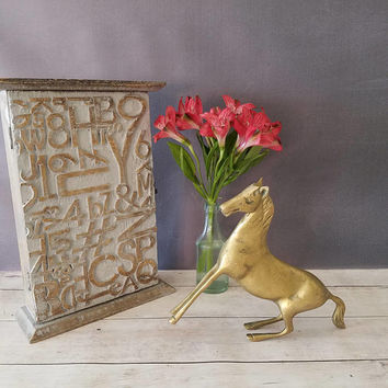 Vintage Brass Horse/ Brass Horse Statue/ Horse Art/ Brass Horse Figurine/ Horse Decor/ Vintage Gift/ Brass Bookend/ Horses/ Brass Animal