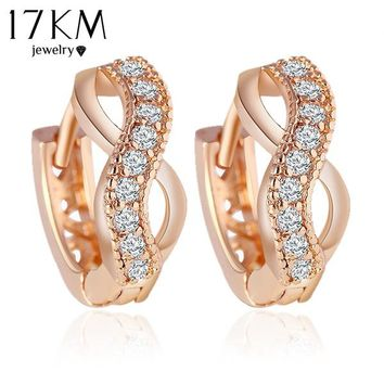 17KM New Design gold Color Austrian crystal earrings jewelry Fashion Luxury Charm Infinity Statement earring for women