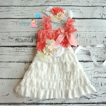 Victorian White and Coral Lace Dress, Flower girls dress,white Dress, baptism dress,baby dress,Birthday outfit,baby Christening, flower sash