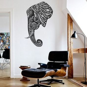 ik267 Wall Decal Sticker Decor Indian elephant floral ornament animal India