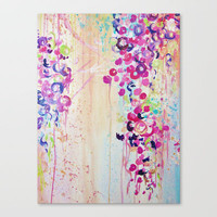 DANCE OF THE SAKURA - Lovely Floral Abstract Japanese Cherry Blossoms Painting, Feminine Peach Blue  Stretched Canvas by EbiEmporium