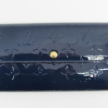 LOUIS VUITTON Sara Long Wallet Vernis Leather Blue M91464