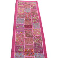 Pink Decorative Indian Patchwork Table Runner Tapestry