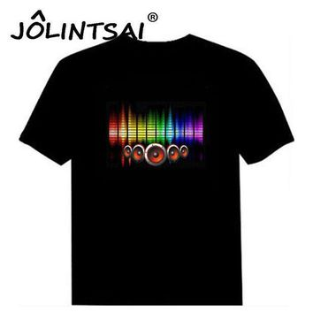 CREYONHC Hot Sale Sound Activated Led Cotton T Shirt Light Up and Down Flashing Equalizer EL T-Shirt Men for Rock Disco Party DJ Top Tee
