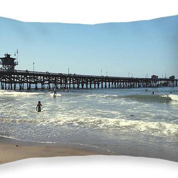 "Beach View With Pier 2 Throw Pillow for Sale by Ben and Raisa Gertsberg - 20"" x 14"""