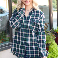 Frayed Hem Plaid Flannel {Green Mix}