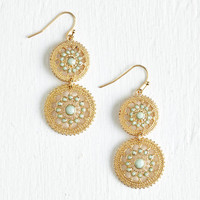 ModCloth Statement Shine is of the Essence Earrings in Mint