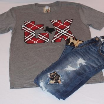 Women's Tee-Shirt Texas Plaid Short Sleeve