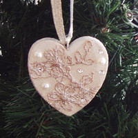 Holiday Ornament Christmas ornament wooden heart ornament handpainted gold floral lace pearls crystals