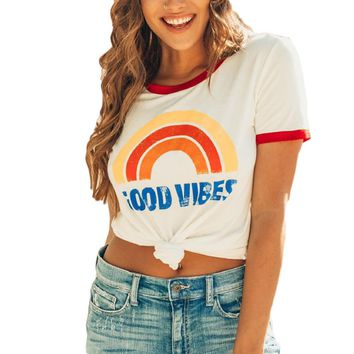 Women's Rainbow Letter Print Short Sleeve T-Shirt Fashion Tee Hipster Shirts Tumblr Graphic T-Shirt Trendy Cotton Casual Tops