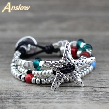 Anslow Brand New Hot Sale Promotion Discount Unique Silver Plated Multilayer Colorful Mother's Christmas Day Gift  LOW0652LB