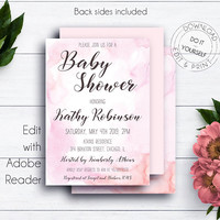 Watercolour Pink Baby Shower Invite, Printable Invite, Baby Girl, Invitation Template, Editable, Girl Baby Shower, Newborn, Baby Sprinkle