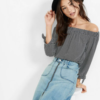 Dot Print Off The Shoulder Tie Sleeve Blouse from EXPRESS