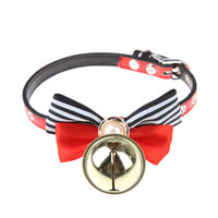 Pet Dog Collar Big Pearl Bow Leather Bell Pet Puppy Cat Accessories Leather for 23~28cm Neck Circumference Dog Supplies
