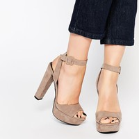 Call It Spring Bosetti Taupe Platform Heeled Sandals