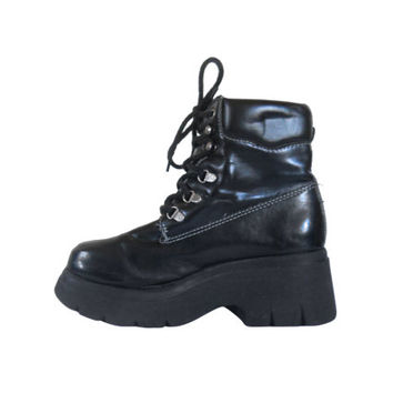 90s Platform Boot Black Platform Boot Lace Up Ankle Boot Vegan Boot 90s Black Boot 90s Chunky Boot Platform Creeper 90s Goth Boot Gothic