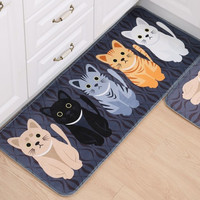 New Lovely Cat Cartoon Mat Bathroom Carpet Living Room Bedroom Rug Cat Floor Mats Table Mats Non-Slip Kitchen Carpet Doormats