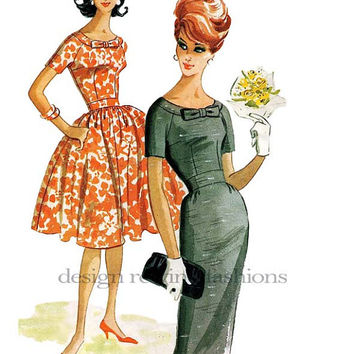 1960s Dress w/ Bateau/Boat Neckline and Bow at Center, Fitted Bodice & Full or Pencil Slim Skirt Bust 35 Vintage McCalls 5736 Sewing pattern