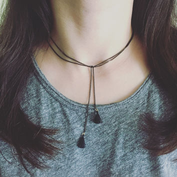 Tassel Black Foil Necklace