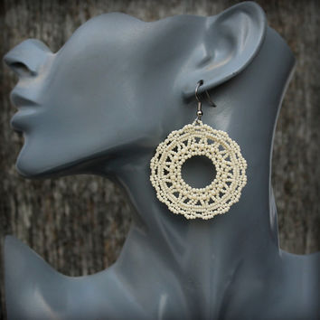 Beaded lace earrings Cream colored filigree  earrings Flat round lace earrings Circular lace earrings Rustic handmade earrings Disc earrings