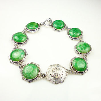 Art Deco Bracelet Chicago World's Fair Souvenir Silver Green Glass Antique Jewelry