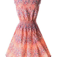 Pink Tiny Floral Elastic Waist Dress