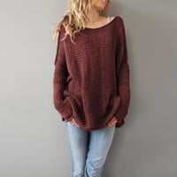 Loose Plain Round Neck Long Sleeve Pullover Sweater