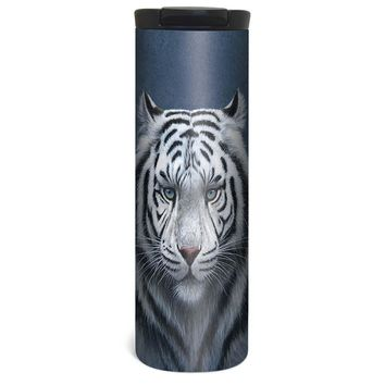 Big Cat White Tiger Barista Tumbler Travel Mug - 17 Ounce, Spill Resistant, Stainless Steel & Vacuum Insulated