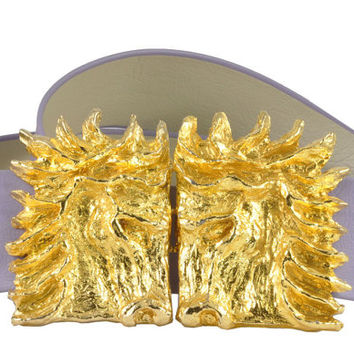 Mimi di N Belt Buckle - 1970s - Huge Gold Tone Horse Head Design with Mauve Belt