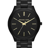 Michael Kors Watch, Women's Slim Runway Black-Tone Stainless Steel Bracelet 42mm MK3221