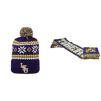 Licensed NCAA LSU Tigers Spirit Scarf And Fogbow Beanie Hat 2 Pack 34231 KO_19_1