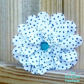 Polka dot Flower, collar slider for dogs or cats, Flower Neckwear, flower accessories for pets, flowered cat accessories, polka dot neckwear