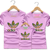 ADIDAS print Family set short sleeve top tee shirt