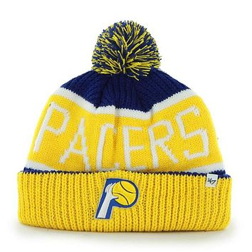 Indiana Pacers - Logo Calgary Yellow and Blue Pom Pom Beanie