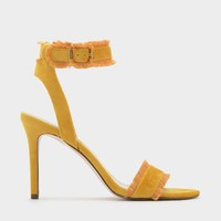 Yellow Frayed Fringe Ankle Strap Heels |CHARLES & KEITH