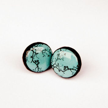 Bird earrings, Tree earrings, Turquoise, Turquoise jewelry, Stud earrings, Tiny earrings, Love earrings, Ear stud, Tree jewelry, Christmas