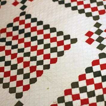 "Antique Quilt Patchwork Red and Green | Vintage Quilt Handmade Handsewn | Lightweight Coverlet | Vintage Bedding 90"" x 71"""